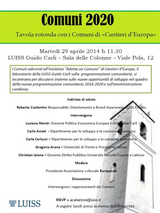 Comuni 2020 29.04.14 Locandina