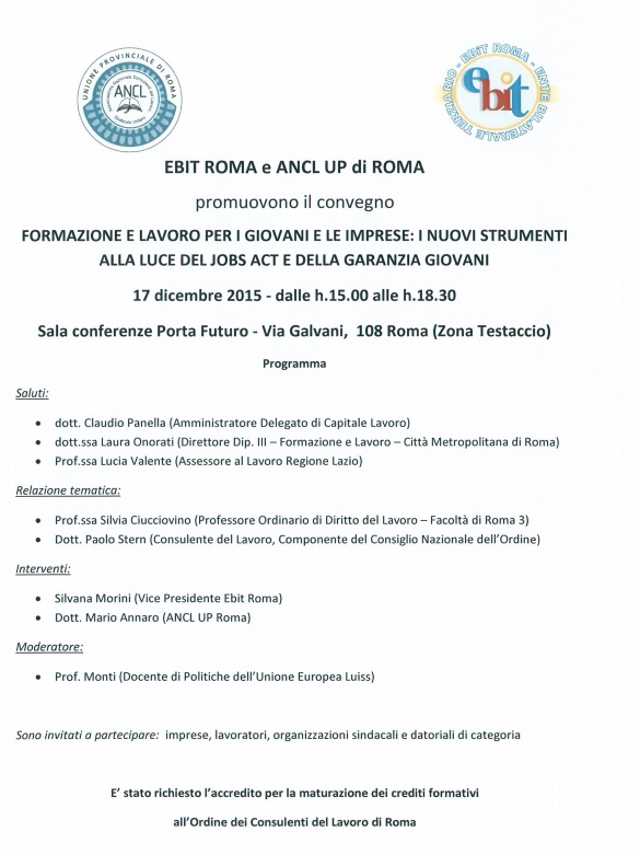 Convegno Ebit Roma e ANCL UP 17 12 2015