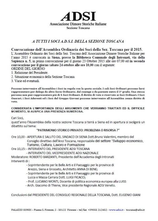 Convocazione Assemblea ADSI Toscana 24.10.15