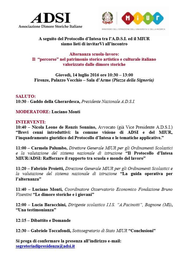 Invito incontro ADSI - MIUR 14 luglio 2016