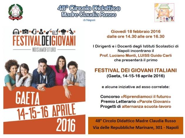 Locandina presentazione Festival dei Giovani di Gaeta scuole Napoli 18.02.16