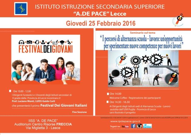 Locandina presentazione Festival dei Giovani e progetti alternanza scuole Lecce 25.02.16.jpg