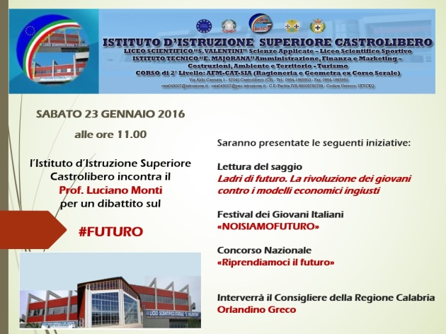 Locandina presentazione Ladri di futuro Castrolibero 23.01.16