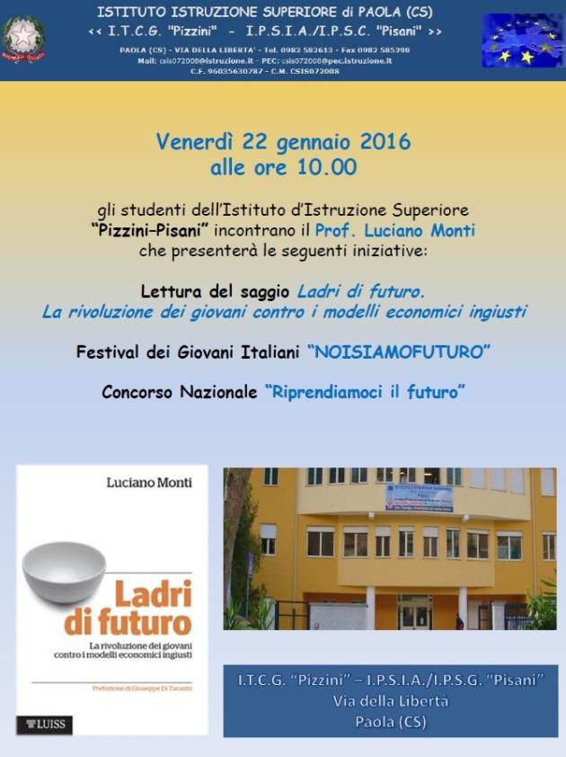 Locandina presentazione Ladri di futuro Istituto Pizzini-PisaniPaola 22.01.16