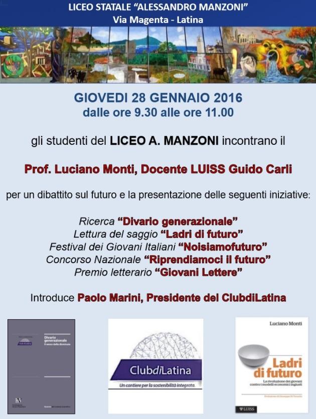 Locandina presentazione Ladri di futuro Manzoni Latina 28.01.16