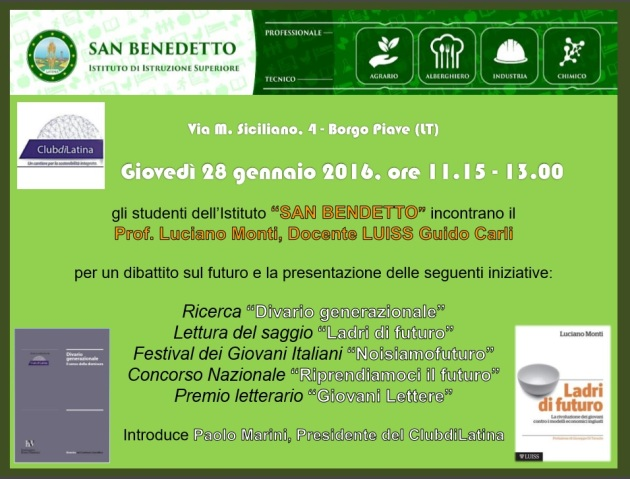Locandina presentazione Ladri di futuro San Benedetto Latina 28.01.16