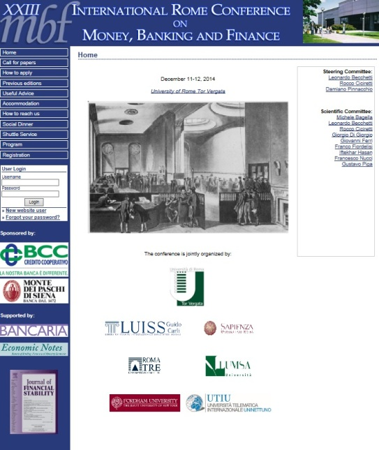 XXIII International Rome Conference on Money, Banking and Finance
