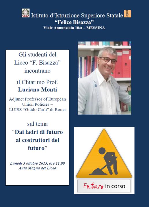 Locandina presentazione Ladri di futuro Liceo Bisazza Messina 05.10.15