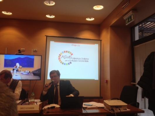Enrico Giovannini presenta logo Alleanza sviluppo sostenibile
